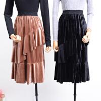 C0FSK25秋冬季韩版高腰纯色显瘦不规则丝绒半身裙