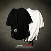 男装夏季新款嘻哈短袖T恤男士加肥加大码宽松半袖体恤日系潮