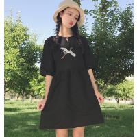 港味中国风连衣裙女2018夏季新款宽松复古仙鹤刺绣娃娃裙子显瘦潮