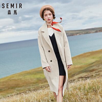 森马女装毛呢外套冬季新款千鸟格呢子大衣长款系带气质外套