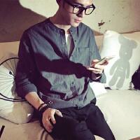 夏日男士亚麻立领衬衫日系休闲薄款宽松大码潮流衬衣纯色寸衫长袖