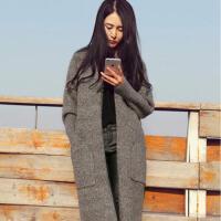 慈姑2018新款韩版秋冬女装开衫毛衣中长款针织衫宽松毛呢加厚外套女士 灰色 口袋 S 适合85―100斤