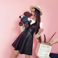 时尚套装女秋季新款韩版显瘦针织衫PU皮吊带裙两件套装