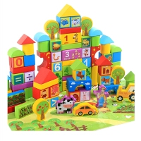 积木玩具1-2周岁男女孩子宝宝3-6周岁木质大颗粒可啃咬积木