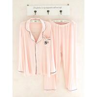 2018新款韩版睡衣女士春秋长袖莫代尔棉纯色衬衫领简约休闲宽松家居服套装 粉红色