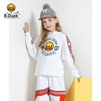 【4折价:135.6】B.duck小黄鸭童装女童卫衣新款印花圆领连帽套头长袖上衣BF3008911