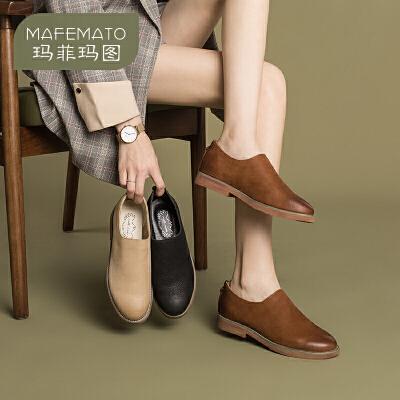 玛菲玛图新款平底鞋复古真牛皮深口单鞋女圆头休闲小皮鞋女108-3S付款3-5天发货