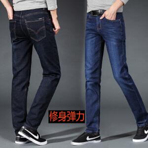 冬季厚款牛仔裤男中年人40-50岁爸爸高腰宽松大档深直筒裤脚休闲