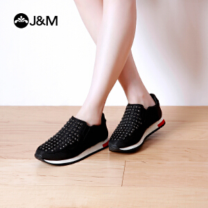 【低价秒杀】jm快乐玛丽春季时尚松糕平底套脚休闲鞋增高深口运动鞋女鞋73050W