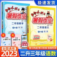 黄冈小状元暑假作业二年级语文数学全套2本2021新版二升三年级