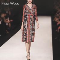 FLEUR WOOD2017秋装新款女装欧美修身民族风印花V领七分袖连衣裙