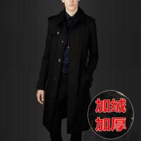秋冬季英伦风衣男 韩版修身超长款过膝加肥加大码加厚胖子外套 潮