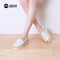 jm快乐玛丽布鞋夏季平底纯色松糕镂空帆布鞋一脚蹬懒人女鞋52018W