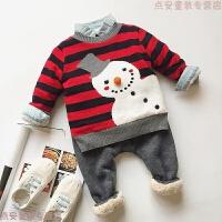 男女宝宝中小童儿童条纹雪人加绒加厚圣诞新年毛衣上衣打底针织衫 红黑条纹雪人加绒毛衣