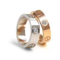 925纯银戒指女 玫瑰金情侣对戒铂金指环男学生网红彩金情人节礼物