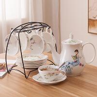 田园风花茶茶具套装陶瓷水具套装家用客厅杯具套装