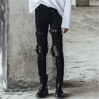 春季新品潮男补丁破洞修身小脚牛仔裤潮流个性青年弹力直筒裤