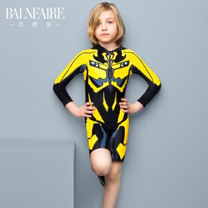 【顺丰急送达】范德安长袖男童泳衣 中大童可爱变形金刚大黄蜂儿童平角连体泳装