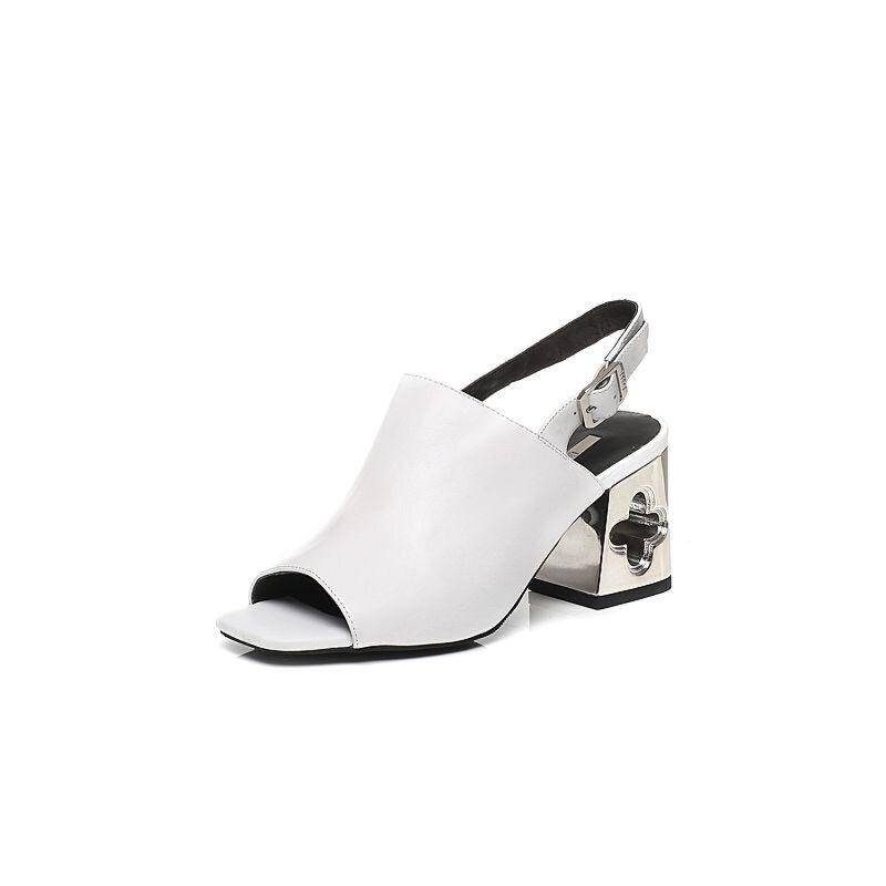 Belle/百丽2017夏专柜同款优雅粗跟牛皮女凉鞋BPD30BL7