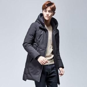 【一件三折 到手价:407.7】yaloo/雅鹿羽绒服男 中长款新正品款韩版加厚保暖修身连帽外套