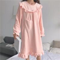 慈姑秋冬韩版甜美公主睡裙可爱法兰绒宽松加厚性感长袖睡衣长款裙子女 粉色 均码