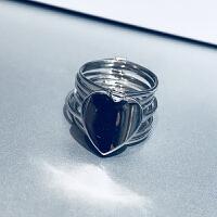 2018新款925银爱心形戒指可变型网红伸缩两用一体手链