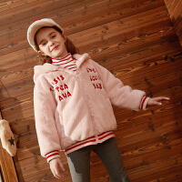 【2件4折:139】巴拉巴拉旗下巴帝巴帝2019年秋冬女童中大童儿童甜美淑女毛毛加厚外套