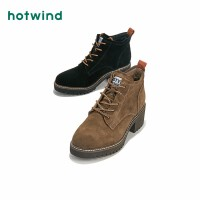 热风潮流时尚女士粗跟系带靴圆头高跟短靴H83W8426