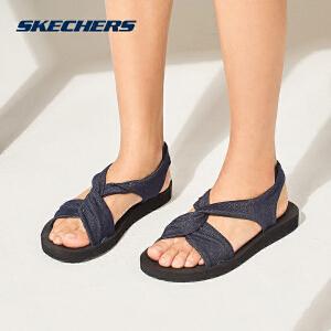 Skechers斯凯奇女鞋新款牛仔布时尚凉鞋 简约拖鞋休闲鞋 31555
