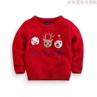 红色毛衣卡通套头2018秋冬新款男童女童圣诞毛衣宝宝儿童装针织衫 红色 现货,偏小一码