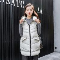 女士中长款羽绒棉马甲外套韩版潮时尚百搭袖棉袄子