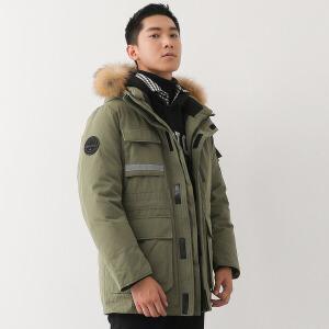 yaloo/雅鹿男装鹅绒工装户外休闲时尚保暖羽绒服