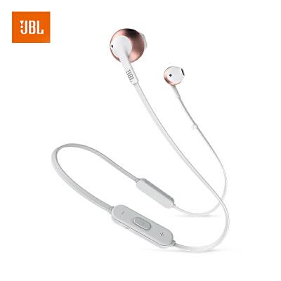 【当当自营】JBL TUNE205BT 玫瑰金 无线蓝牙耳机 运动耳机 T205BT半入耳式音乐耳机 带麦手机可通话轻运动舒适享受,苹果三星华为OPPO通用