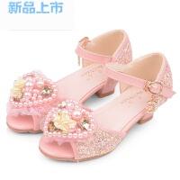 韩版女童鞋女孩凉鞋水晶高跟鞋粉色蓝搭配儿童礼服公主裙模特演出