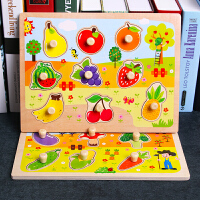 木质儿童手抓板拼图宝宝早教智力女孩玩具男孩2周岁1-3-4-6一0岁
