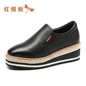 红蜻蜓女鞋秋冬皮鞋鞋子女厚底鞋WTB7546