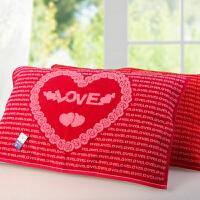 枕巾纯棉浪漫玫瑰情侣结婚喜庆大红色枕巾