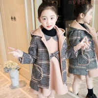 女童冬装套装2018新款童装儿童呢大衣背心裙两件套呢子裙毛妮外套