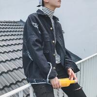 牛仔外套男士春秋季宽松休闲港风男生上衣服韩版潮流帅气男装夹克