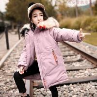 女童冬装洋气棉袄外套儿童韩版中长款毛领棉衣羽绒棉加厚保暖