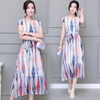 2018夏装新款女装韩版气质显瘦印花条纹裙子夏季中长款雪纺连衣裙
