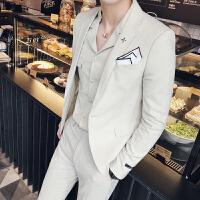 2018西服套装男士二件套韩版修身小西装职业伴郎新郎结婚礼服米白