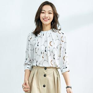 安妮纯2020春装新款七分袖印花雪纺衫女雪纺上衣衬衫碎花衬衣韩版