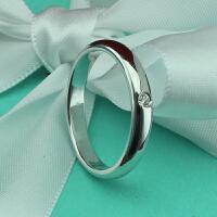 韩版定做925纯银镀铂金镶嵌圆形单钻情侣刻字仿真钻戒指对戒尾戒