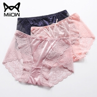 猫人 性感蕾丝女士内裤中腰大码三角裤头粉色 3条装礼盒装