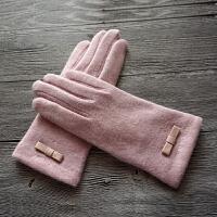 冬女士新品简约蝴蝶结羊毛触屏保暖手套