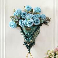 欧式墙饰挂饰壁饰复古家居墙壁装饰挂件天鹅挂钩立体壁挂花瓶套装 玫瑰款