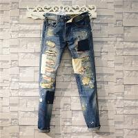 欧美嘻哈个性油漆贴布破洞牛仔裤韩版潮流直筒男乞丐补丁长裤青年