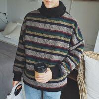 青少年潮季高领毛衣男学生款套头长领领针织衫线衣加厚条纹