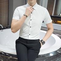 夏新款男士商务休闲短袖衬衫美发师理发店发型师服务员工作服衬衣